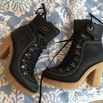 Black Lace Up Boots Urban Outfitters Lucky Brand Anthropologie  Photo