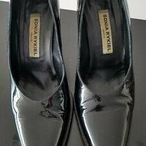Black Lacquer Leather Shoes Sonia Rykiel Paris Made in Italy Size 38 Heels  Photo
