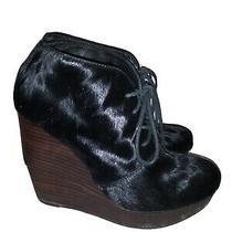 Black Leather Ainimal Hide Matiko Wedge Heel Booties Sz 8.5 Photo