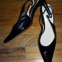 Black Leather Ak Anne Klein Fancy Side Buckle Sling Back Heels Size 8m Euc Photo