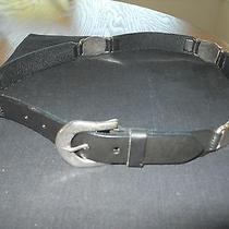 Black Leather Belt With Silver Metal Design  Belt Photo