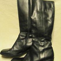 Black Leather Boots 6.5 M Valerie Stevens Womens  Photo