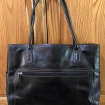 Black Leather Classic Fossil Large Travel Laptop Tote Handbag Satchel 75082 Bag Photo
