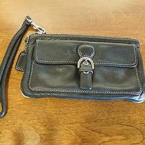 Black Leather Coach Clutch With Buckle and Wrist Strap Photo