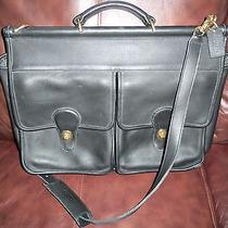 Black Leather Coach Computer/cross Body Brief Case Euc Photo