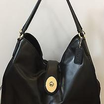Black Leather Coach Handbag With Gold Hardware Nwot Photo