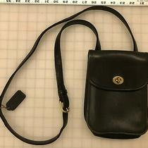 Black Leather Coach Purse Bag Over the Shoulder Pouch Buckled Adjustable Photo