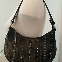 Black Leather Fossil Purse Small Shoulder Metal Studs Photo