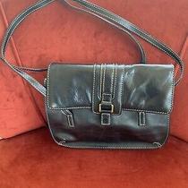 Black Leather Fossil  Satchel Handbag  Nice Photo