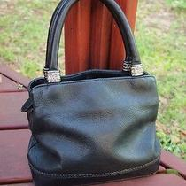 Black Leather Fossil Shoulder Bag Handbag Purse With Silver Accent 75082 Photo