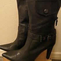 Black Leather High Heel Ankle Boots With Zipper - via Spiga 9m Photo