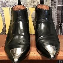 Black Leather Jeffrey Campbell Silver Toe Ankle Boots Size 10 Photo