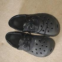 Black Leather Leather Tie Solid Black Leather Crocs Photo