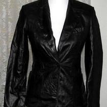Black Leather Lined Jacket Size 1/2 Express Photo