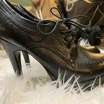 Black Leather Oxford High Heel Aldo Size 37 Photo