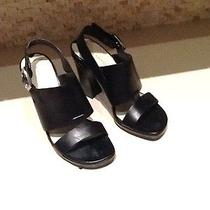 Black Leather Women's via Spiga Sandal Heels Shoe 7 M Photo