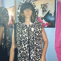 Black Leopard Hooded Vest by Nine West With Gift Photo