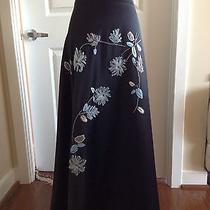 Black Long Skirt With Floral Applications - by Bebe - Size 2 Photo