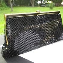 Black Metal Mesh Whiting & Davis International Clutch Purse / Shoulder Strap Bag Photo