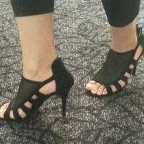 Black Micro Suede Heels. Photo