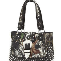 Black  Mossy Oak Camofauge Licensed Studded Rhinestone Buckle Handbag Tote Bag  Photo