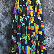Black/multi Colored Drawstring Boho/hippie Skirt by Emijeux One Size Fits Most Photo