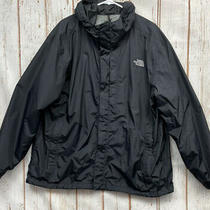Black Nylon Zip Front Hooded Rain Jacket From the North Face Men's Size Xxl Photo