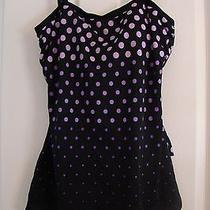 Black One-Piece Sarong Swimsuit With Lavendar/pink Dots by Maxine of Hollywood Photo