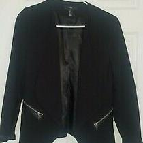 Black Open Front Blazer - Sz 12 - h&m - Zipper Detailrayon Nylon Spandex Photo