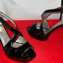 Black Open/peep Toe Platform Heels by