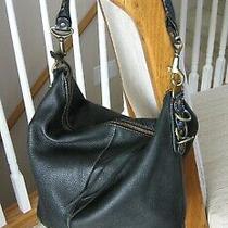 Black Pebbled Leather Purse Hobo Shoulder Bag via Spiga Italy Photo