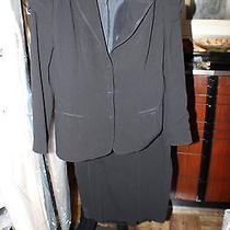 Black Prada 2 Pc Suit Blazer Jacket 42 Skirt 46 Photo