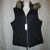 Black Puffer Vest Size Md Gap Full Zip 2 Side Pockets Hood (Not Removable) Nwt Photo