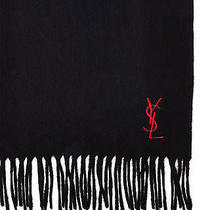 Black/red Yves Saint Laurent Ysl Wool Scarf Womens Made in Italy 100% Authentic Photo