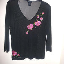 Black Sheer v-Neck Knit Top With Roses Applications  Xl  Bust  40