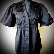 Black Shirt Bcbg Max Azria Button Down Stand-Up Collar Crochet Elements Xs Photo