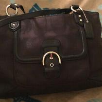 Black Signature Coach F26243 Satchel Carryall Shoulder Purse Hand Bag Leather Photo