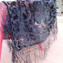 Black Silk & Velvet Piano Shawl Nwt Roses Fringe 40 Sq Wo Fringe Mary Green Vtg Photo