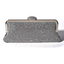 Black Silver Shining Diamond Evening Wedding Party Clutch Handbag Bag Purse Photo