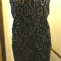 Black Sleeveless Lined Shift Dressfront Gold &black Sequins 22/24 Nwot Reduced Photo