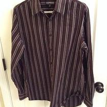 Black Striped Express Modern Fit Dress Shirt- 15-15 1/2 Photo