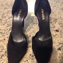 Black Suede 100 % Authentic Prada Shoes 38.5 Photo