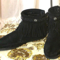 Black Suede Fringe Braid Minnetonka Moccasin Ankle Boots Photo