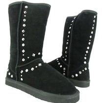 Black Suede Studded Women's Sz 8m New With Box Bolted Style & Co. Winter Boot  Photo