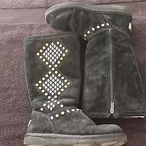 Black Suede Ugg Winter Boots Photo