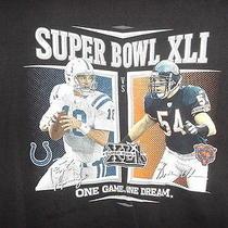 Black Super Bowl Xli Tshirt Xl Peyton Manning Brian Urlacher Faces Colts Bears Photo