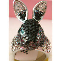 Black Swarovski Crystal Rabbit Ring A Photo