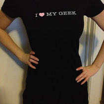 Black Tee Shirt Women Junior I Love My Geek Alternative Apparel Size Small   Photo
