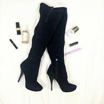 Black Thigh High Boots  Guess by Marciano  Suede  Stiletto Photo