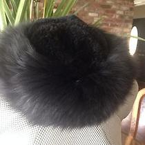 Black Tuscan Dyed Lamb Fur Hat - Made in Italy Nwot Photo